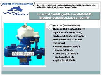 Refurbished Alfa Laval centrifuge MAB-103, oil separator, Fuel Oil Separator, Lube oil purifier